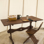 16th c trestle table for six in walnut