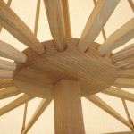 Solid ash center-pole, hub, and spokes