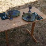 A trestle table for two